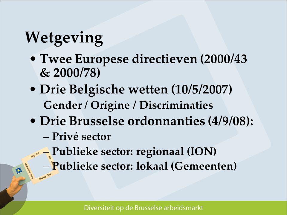 Twee Europese directieven (2000/43 & 2000/78) Drie Belgische wetten (10/5/2007) Gender / Origine / Discriminaties Drie Brusselse ordonnanties (4/9/08)