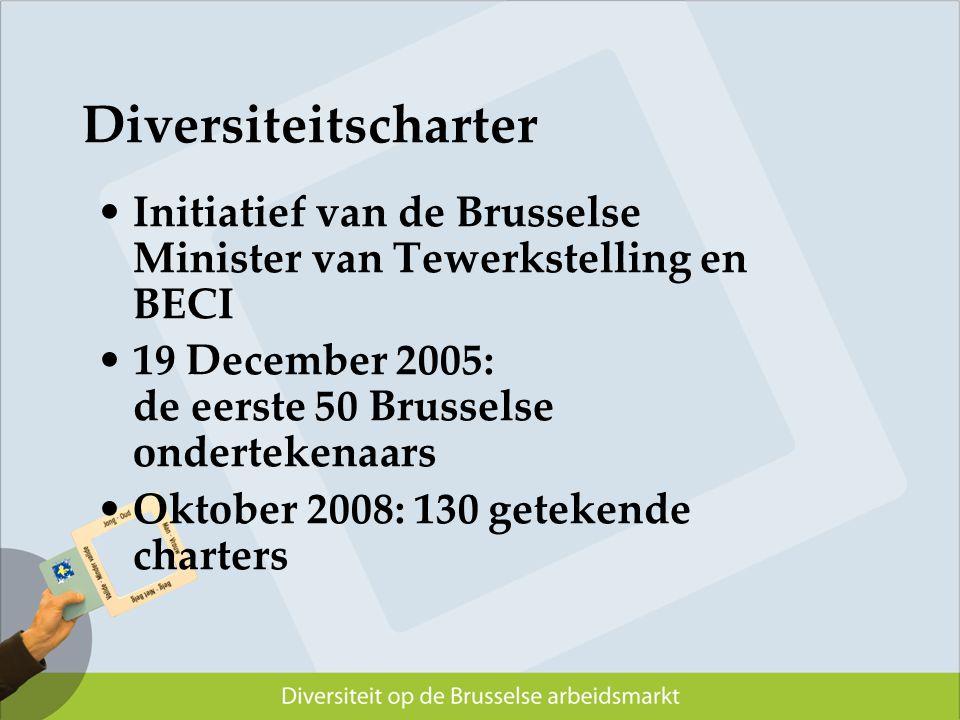 Diversiteitscharter Initiatief van de Brusselse Minister van Tewerkstelling en BECI 19 December 2005: de eerste 50 Brusselse ondertekenaars Oktober 20