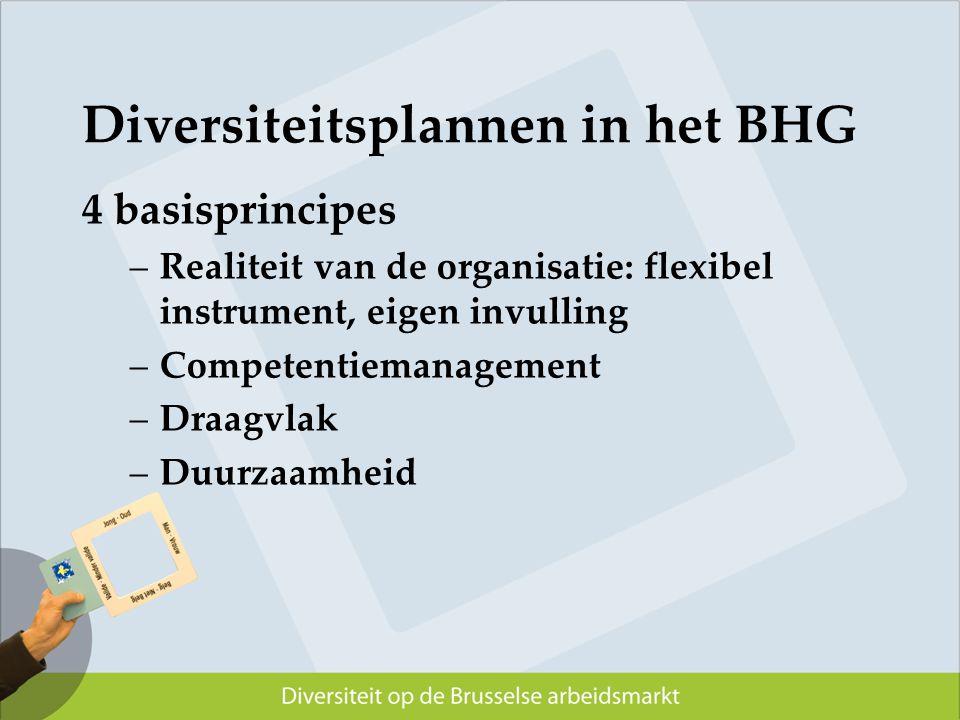Diversiteitsplannen in het BHG 4 basisprincipes –Realiteit van de organisatie: flexibel instrument, eigen invulling –Competentiemanagement –Draagvlak