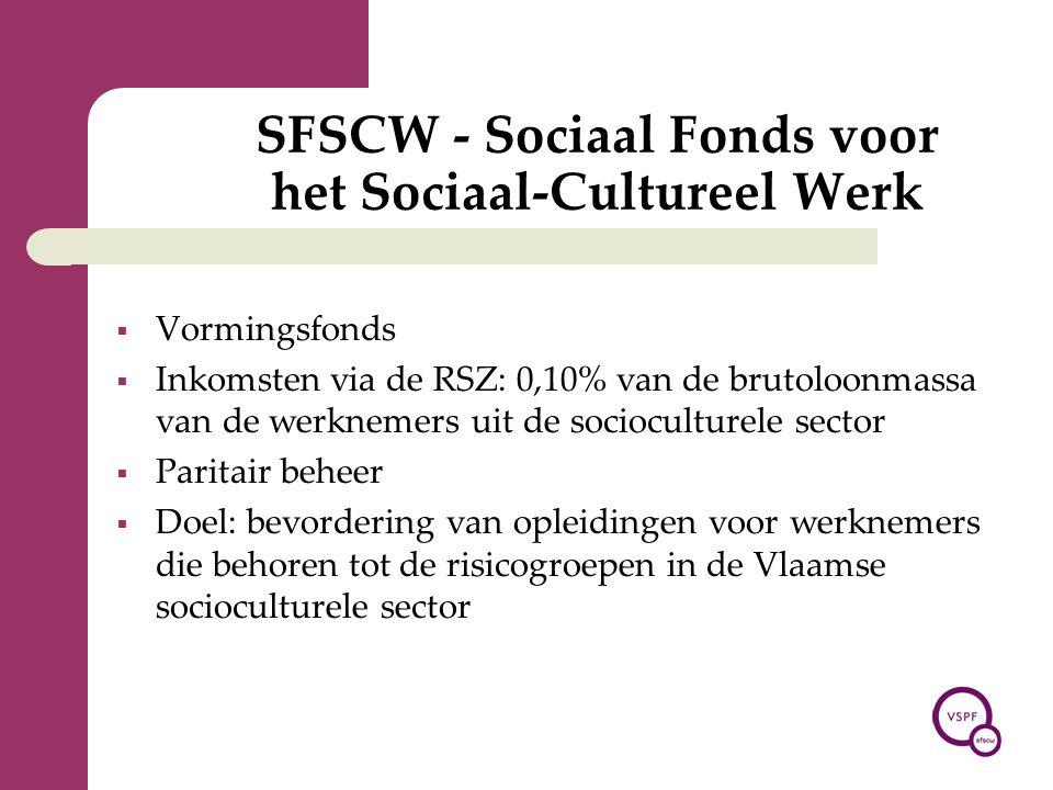 SFSCW - Sociaal Fonds voor het Sociaal-Cultureel Werk  Vormingsfonds  Inkomsten via de RSZ: 0,10% van de brutoloonmassa van de werknemers uit de soc