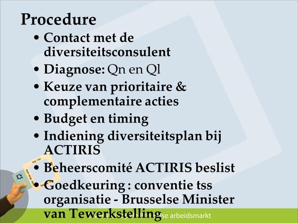 Procedure Contact met de diversiteitsconsulent Diagnose: Qn en Ql Keuze van prioritaire & complementaire acties Budget en timing Indiening diversiteit