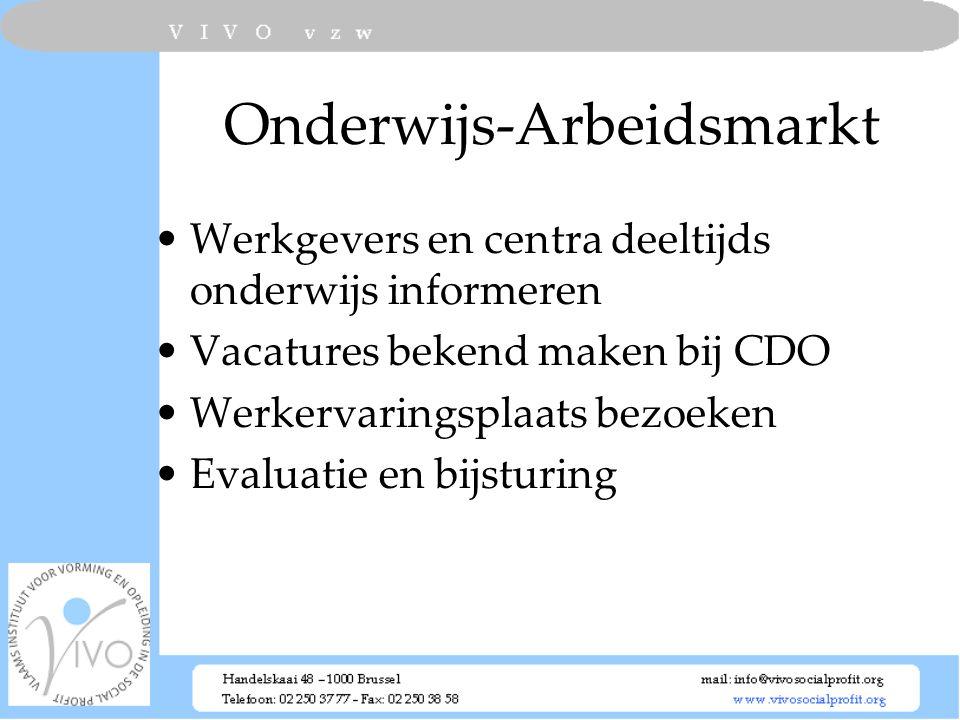 Onderwijs-Arbeidsmarkt Werkgevers en centra deeltijds onderwijs informeren Vacatures bekend maken bij CDO Werkervaringsplaats bezoeken Evaluatie en bi
