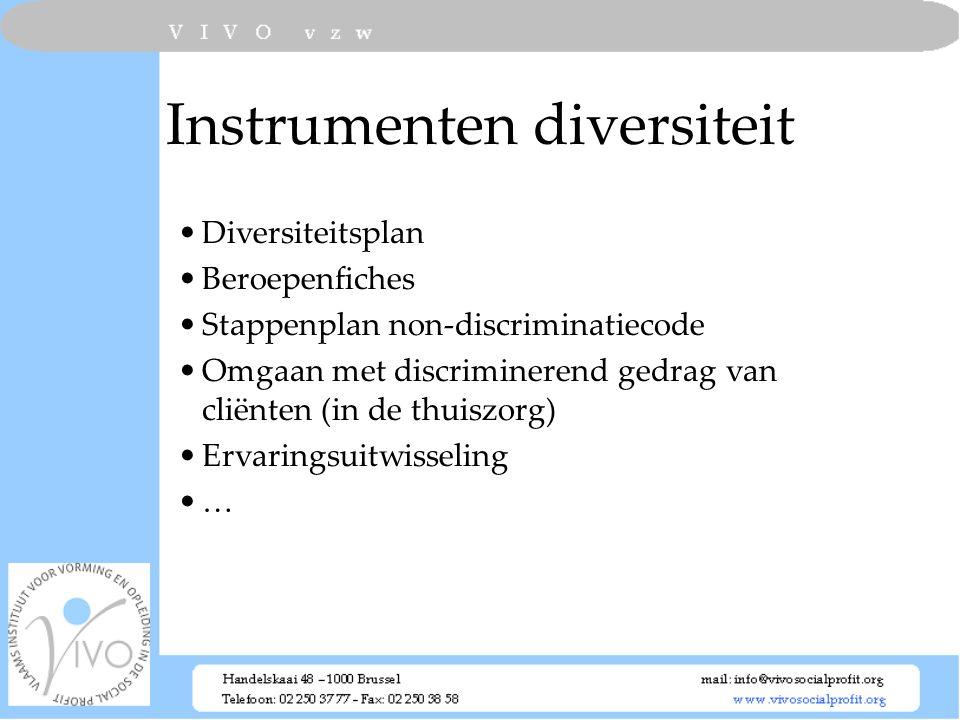 Instrumenten diversiteit Diversiteitsplan Beroepenfiches Stappenplan non-discriminatiecode Omgaan met discriminerend gedrag van cliënten (in de thuisz