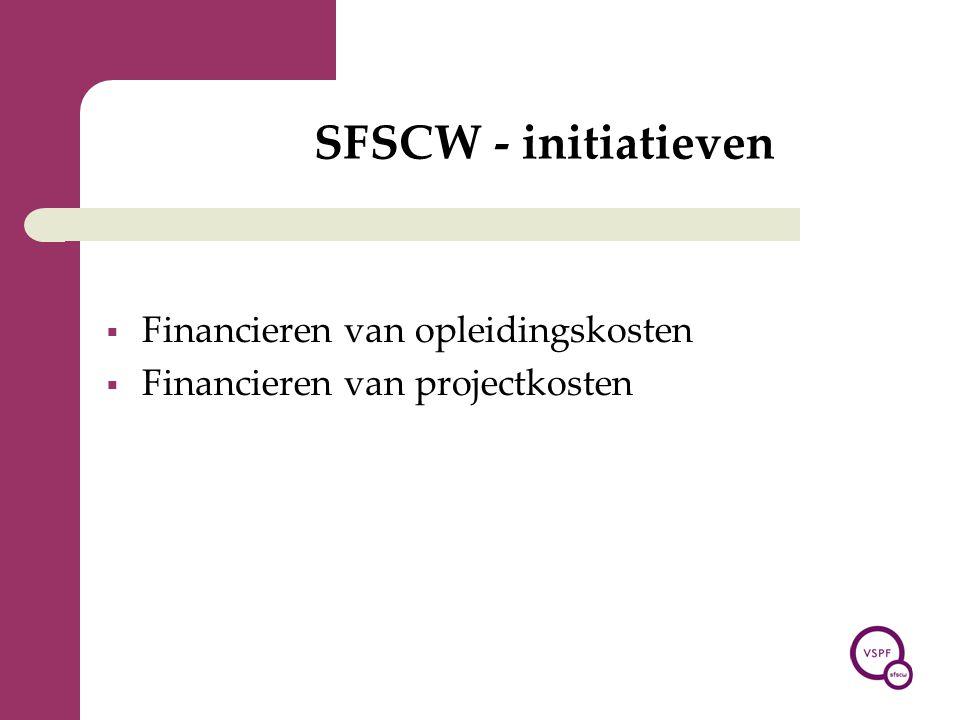 SFSCW - initiatieven  Financieren van opleidingskosten  Financieren van projectkosten