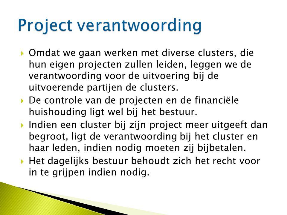  Omdat we gaan werken met diverse clusters, die hun eigen projecten zullen leiden, leggen we de verantwoording voor de uitvoering bij de uitvoerende