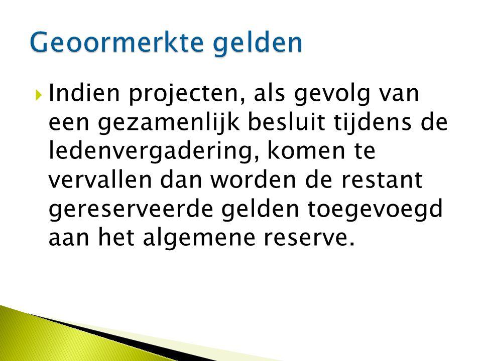  Indien projecten, als gevolg van een gezamenlijk besluit tijdens de ledenvergadering, komen te vervallen dan worden de restant gereserveerde gelden toegevoegd aan het algemene reserve.