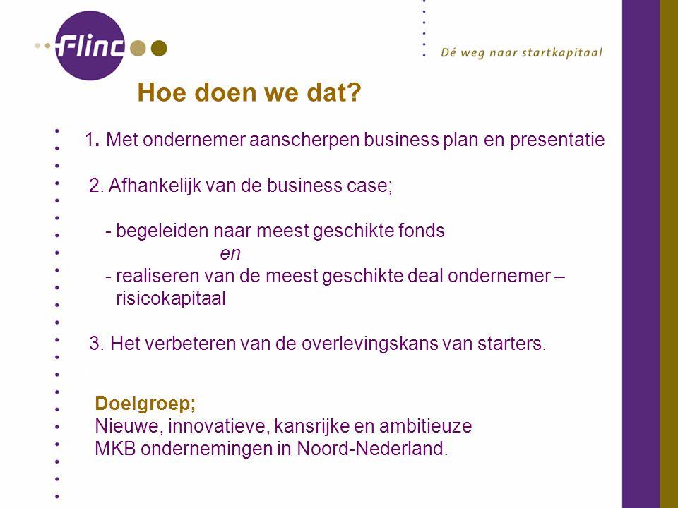 Hoe doen we dat. 1. Met ondernemer aanscherpen business plan en presentatie 2.