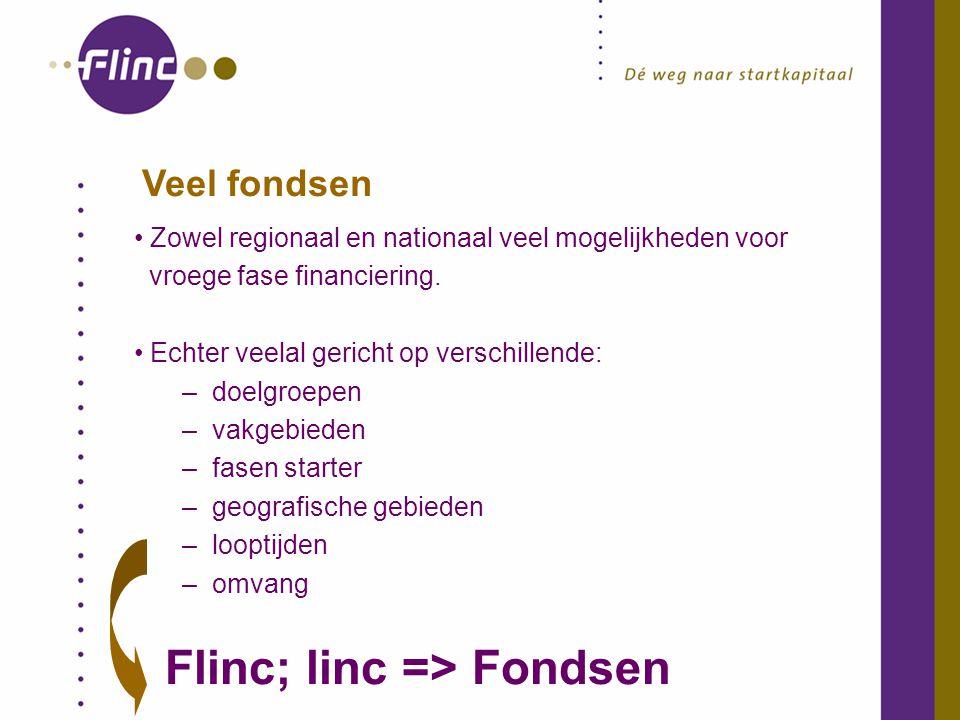 Veel fondsen Zowel regionaal en nationaal veel mogelijkheden voor vroege fase financiering.
