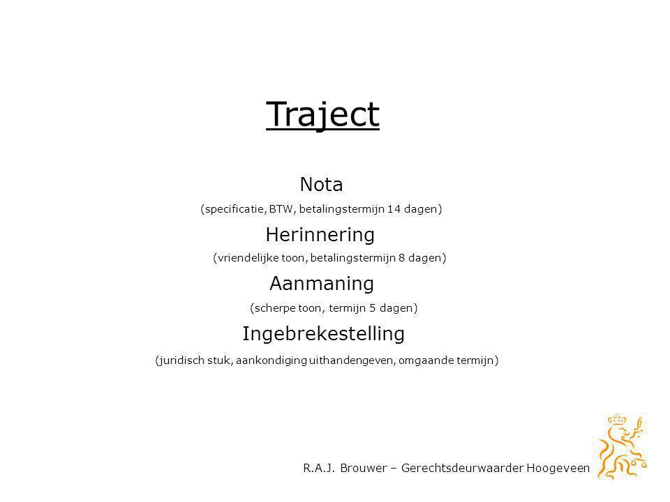Nota Herinnering Ingebrekestelling Aanmaning Traject R.A.J. Brouwer – Gerechtsdeurwaarder Hoogeveen (specificatie, BTW, betalingstermijn 14 dagen) (vr