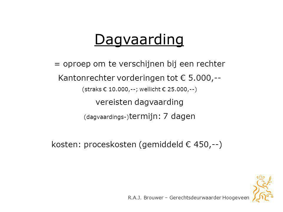 R.A.J. Brouwer – Gerechtsdeurwaarder Hoogeveen Dagvaarding = oproep om te verschijnen bij een rechter Kantonrechter vorderingen tot € 5.000,-- (straks