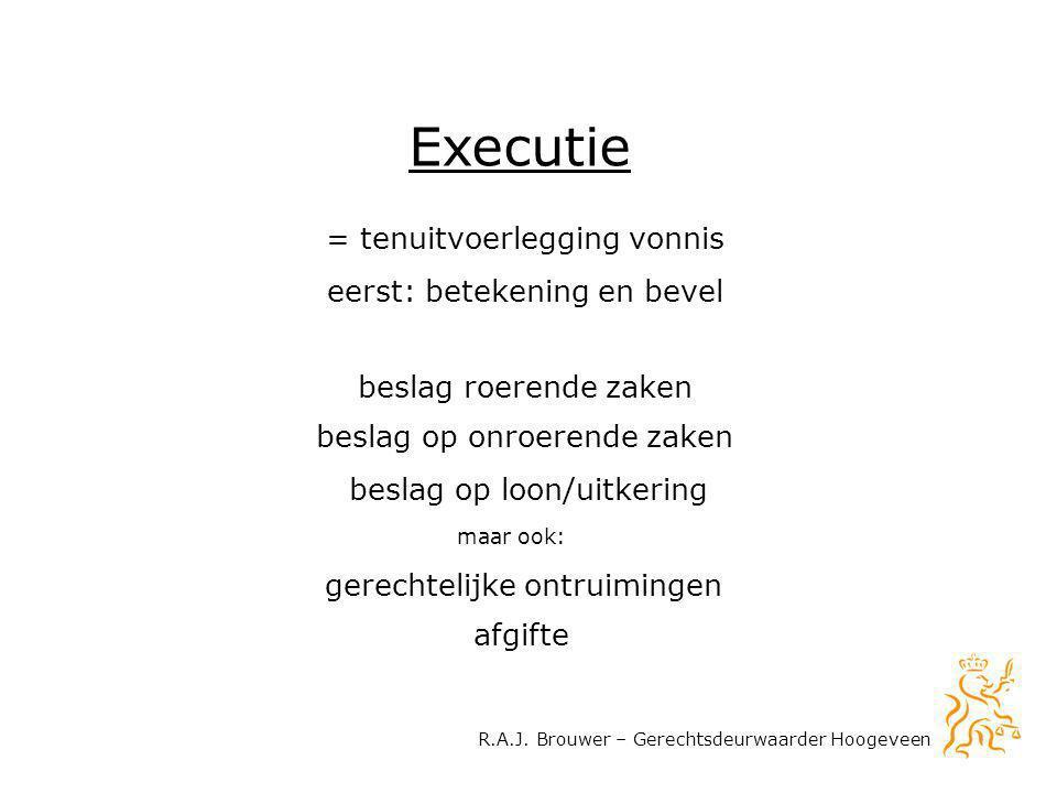 R.A.J. Brouwer – Gerechtsdeurwaarder Hoogeveen Executie = tenuitvoerlegging vonnis eerst: betekening en bevel beslag roerende zaken beslag op loon/uit