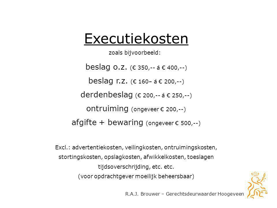 R.A.J. Brouwer – Gerechtsdeurwaarder Hoogeveen Executiekosten beslag o.z. (€ 350,-- á € 400,--) beslag r.z. (€ 160– á € 200,--) derdenbeslag (€ 200,--