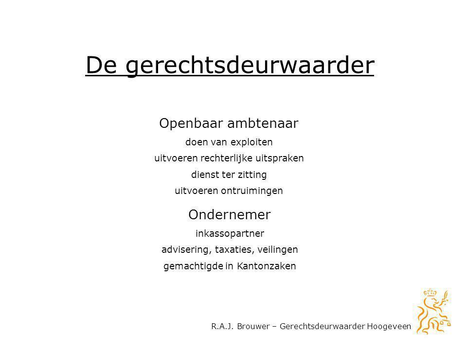 R.A.J. Brouwer – Gerechtsdeurwaarder Hoogeveen De gerechtsdeurwaarder Ondernemer inkassopartner advisering, taxaties, veilingen gemachtigde in Kantonz