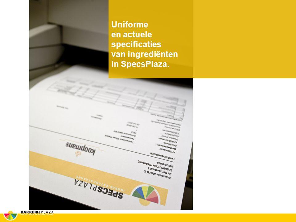 Uniforme en actuele specificaties van ingrediënten in SpecsPlaza.