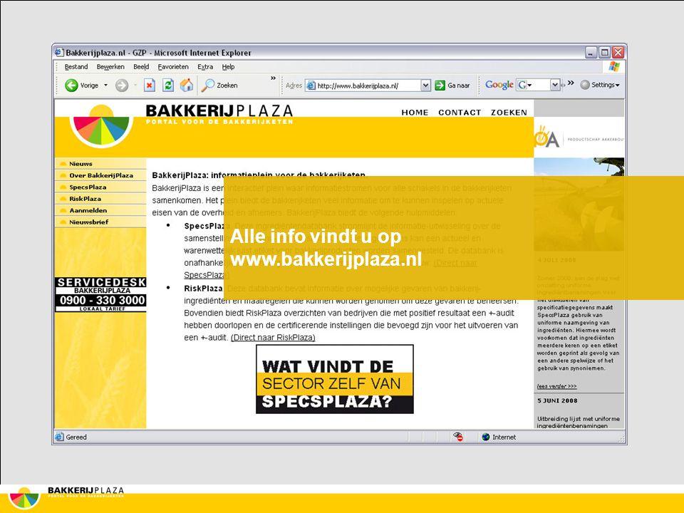 Alle info vindt u op www.bakkerijplaza.nl