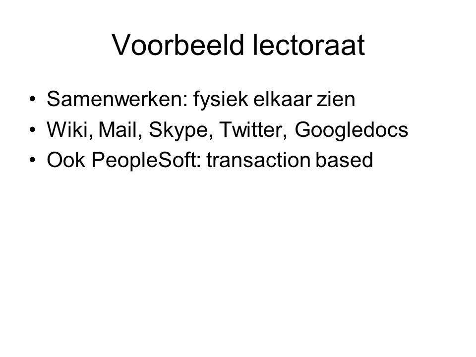 Voorbeeld lectoraat Samenwerken: fysiek elkaar zien Wiki, Mail, Skype, Twitter, Googledocs Ook PeopleSoft: transaction based
