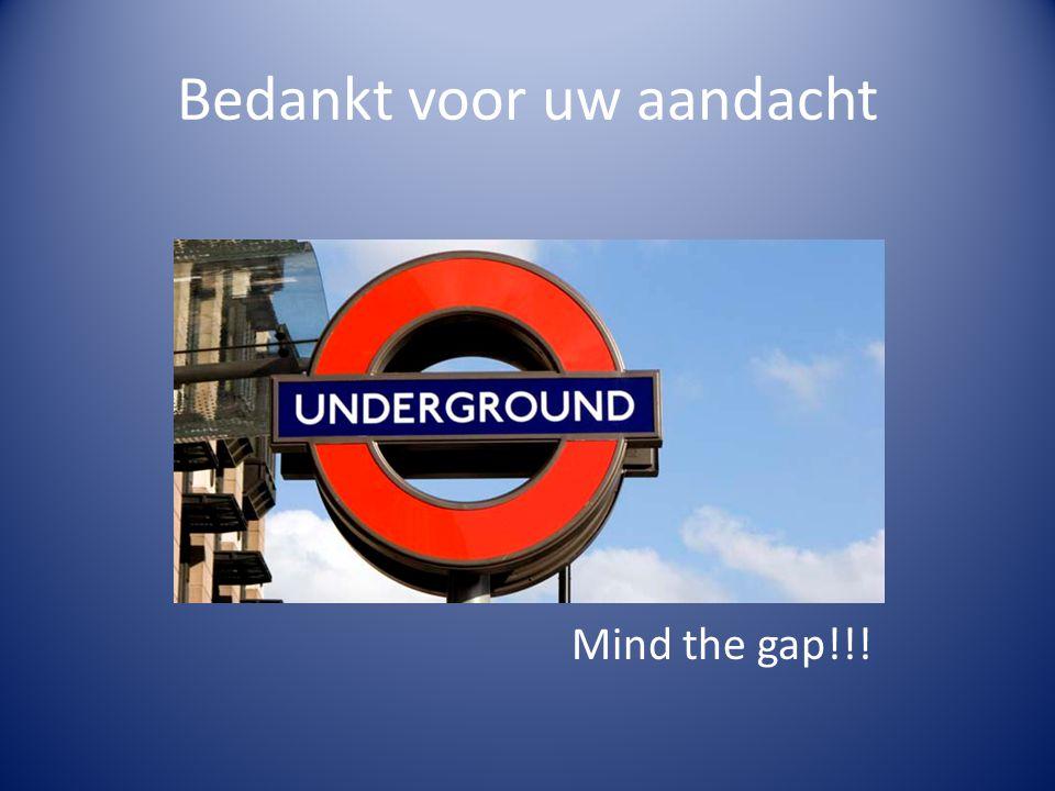 Bedankt voor uw aandacht Mind the gap!!!