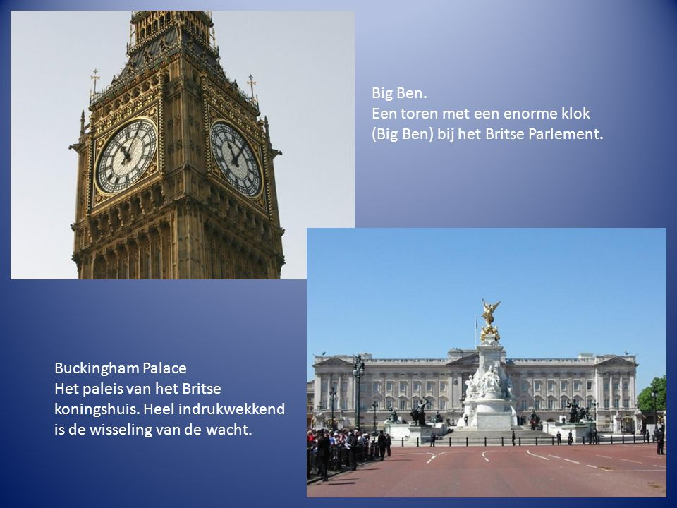 Big Ben. Een toren met een enorme klok (Big Ben) bij het Britse Parlement.