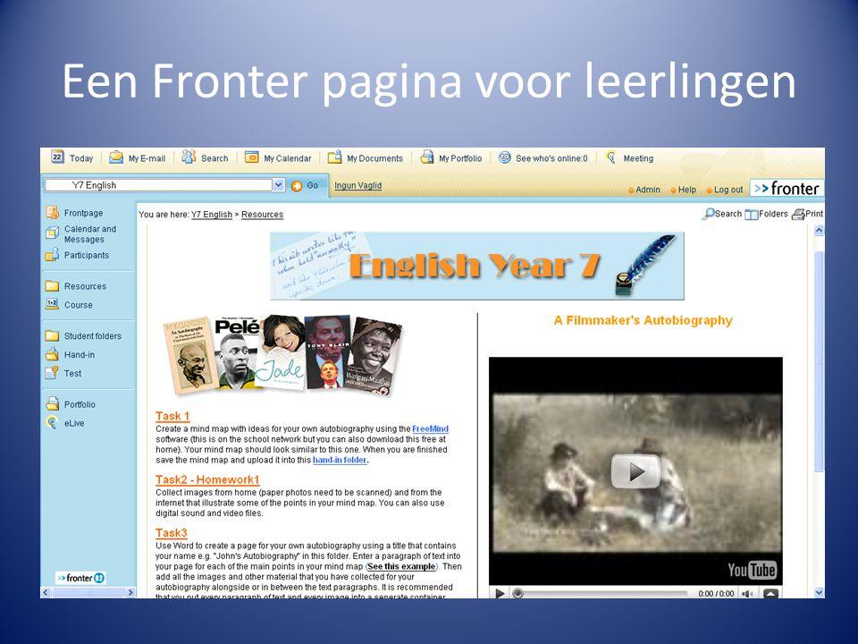 Een Fronter pagina voor leerlingen