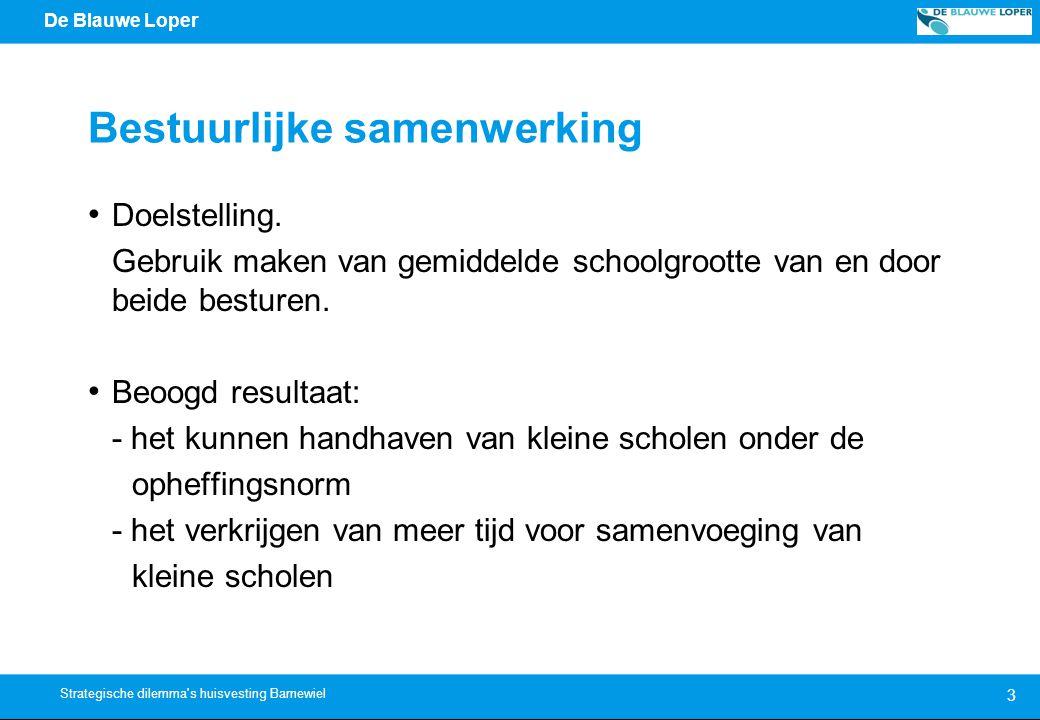 De Blauwe Loper 3 Strategische dilemma s huisvesting Barnewiel Bestuurlijke samenwerking Doelstelling.
