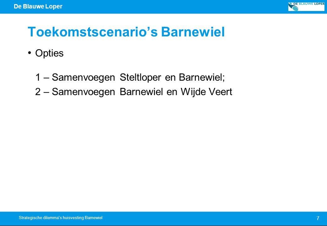 De Blauwe Loper Toekomstscenario's Barnewiel Opties 1 – Samenvoegen Steltloper en Barnewiel; 2 – Samenvoegen Barnewiel en Wijde Veert 7 Strategische dilemma s huisvesting Barnewiel