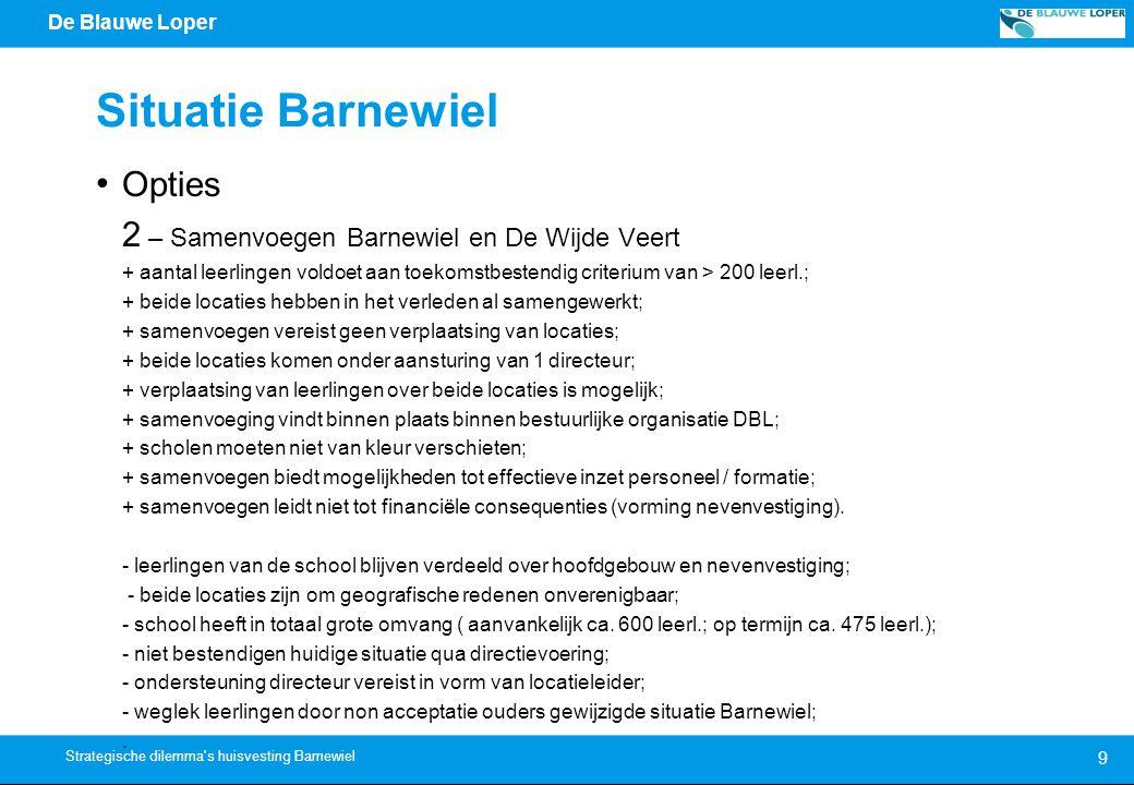 De Blauwe Loper Situatie Barnewiel Toekomstgerichte maatregelen 2013-2014 1.