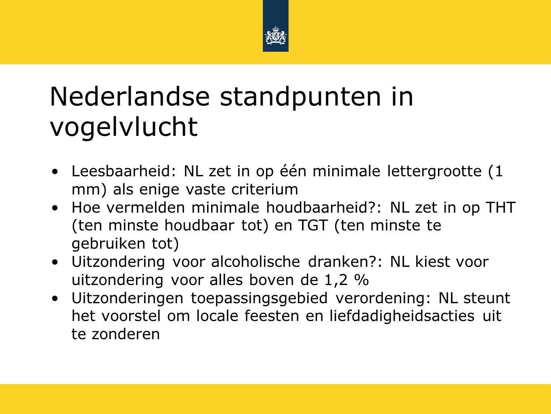 Nederlandse standpunten in vogelvlucht Leesbaarheid: NL zet in op één minimale lettergrootte (1 mm) als enige vaste criterium Hoe vermelden minimale houdbaarheid : NL zet in op THT (ten minste houdbaar tot) en TGT (ten minste te gebruiken tot) Uitzondering voor alcoholische dranken : NL kiest voor uitzondering voor alles boven de 1,2 % Uitzonderingen toepassingsgebied verordening: NL steunt het voorstel om locale feesten en liefdadigheidsacties uit te zonderen