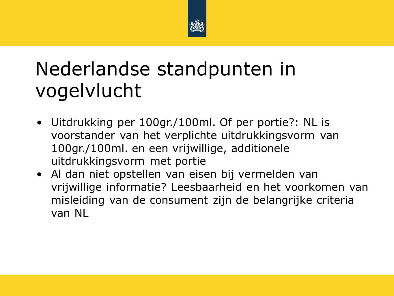 Nederlandse standpunten in vogelvlucht Uitdrukking per 100gr./100ml.