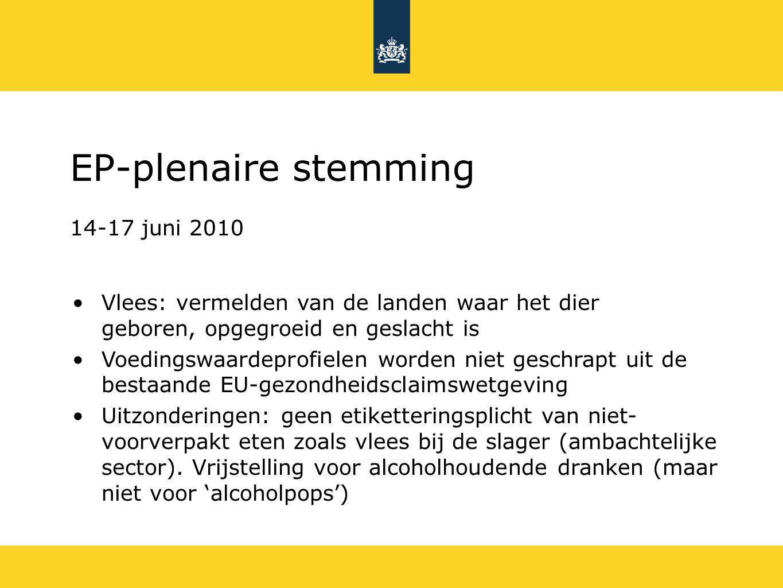 EP-plenaire stemming 14-17 juni 2010 Twee termijnen voor inwerkingtreding: 3 jaar en 5 jaar voor bedrijven van minder dan 100 werknemers en een omzet minder dan € 5 miljoen