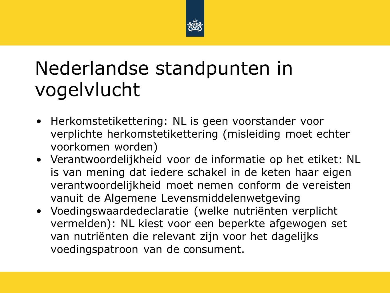 Nederlandse standpunten in vogelvlucht Leesbaarheid: NL zet in op één minimale lettergrootte (1 mm) als enige vaste criterium Hoe vermelden minimale houdbaarheid?: NL zet in op THT (ten minste houdbaar tot) en TGT (ten minste te gebruiken tot) Uitzondering voor alcoholische dranken?: NL kiest voor uitzondering voor alles boven de 1,2 % Uitzonderingen toepassingsgebied verordening: NL steunt het voorstel om locale feesten en liefdadigheidsacties uit te zonderen