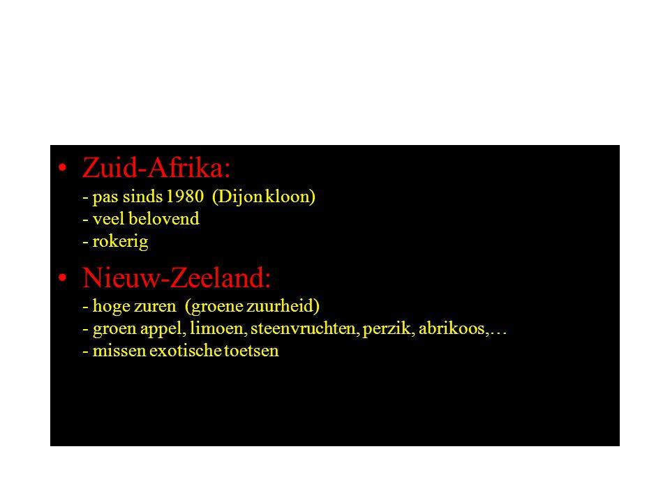Zuid-Afrika: - pas sinds 1980 (Dijon kloon) - veel belovend - rokerig Nieuw-Zeeland: - hoge zuren (groene zuurheid) - groen appel, limoen, steenvruchten, perzik, abrikoos,… - missen exotische toetsen