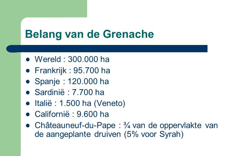 Belang van de Grenache Wereld : 300.000 ha Frankrijk : 95.700 ha Spanje : 120.000 ha Sardinië : 7.700 ha Italië : 1.500 ha (Veneto) Californië : 9.600