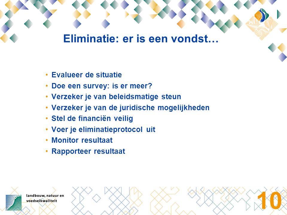 10 Eliminatie: er is een vondst… Evalueer de situatie Doe een survey: is er meer.