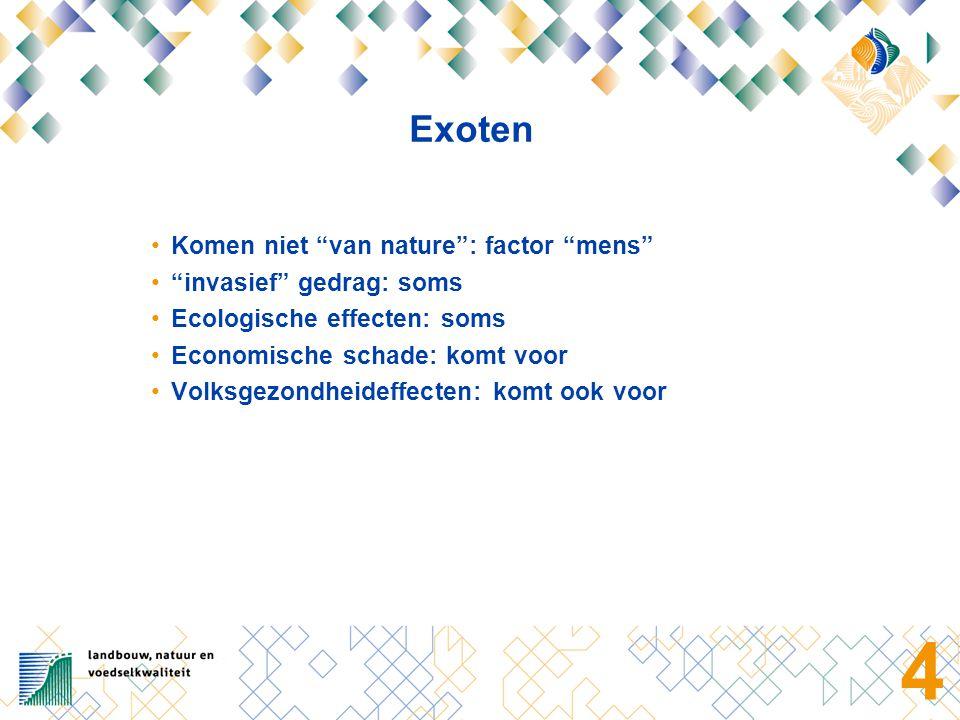 4 Exoten Komen niet van nature : factor mens invasief gedrag: soms Ecologische effecten: soms Economische schade: komt voor Volksgezondheideffecten: komt ook voor