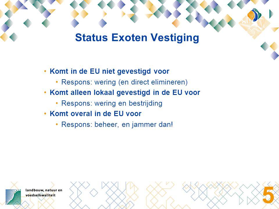 5 Status Exoten Vestiging Komt in de EU niet gevestigd voor Respons: wering (en direct elimineren) Komt alleen lokaal gevestigd in de EU voor Respons: wering en bestrijding Komt overal in de EU voor Respons: beheer, en jammer dan!