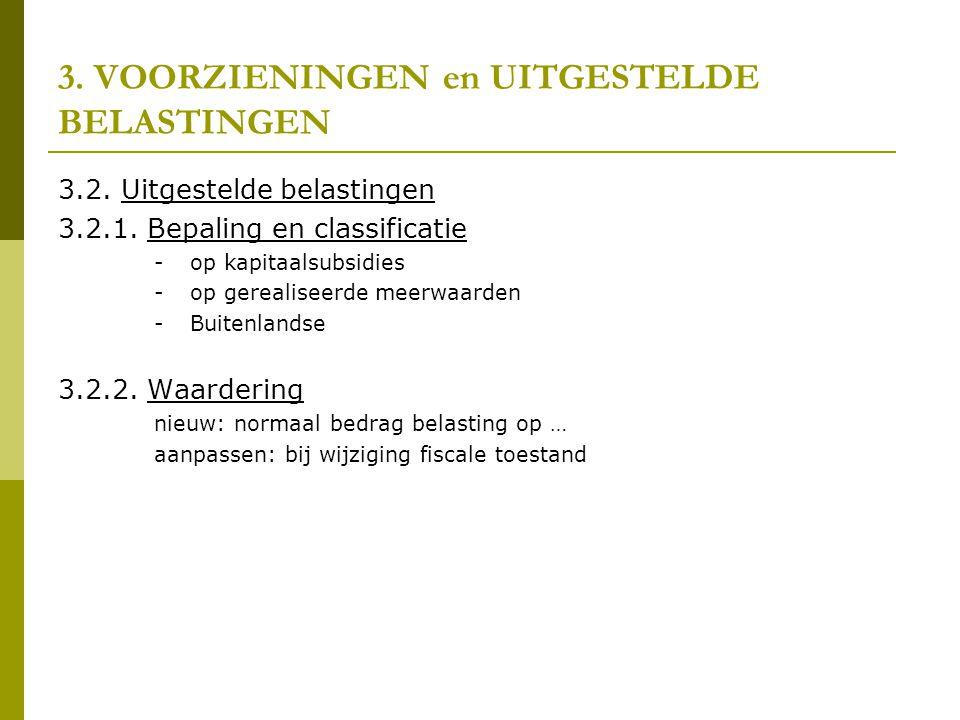 3.VOORZIENINGEN en UITGESTELDE BELASTINGEN 3.2. Uitgestelde belastingen 3.2.1.