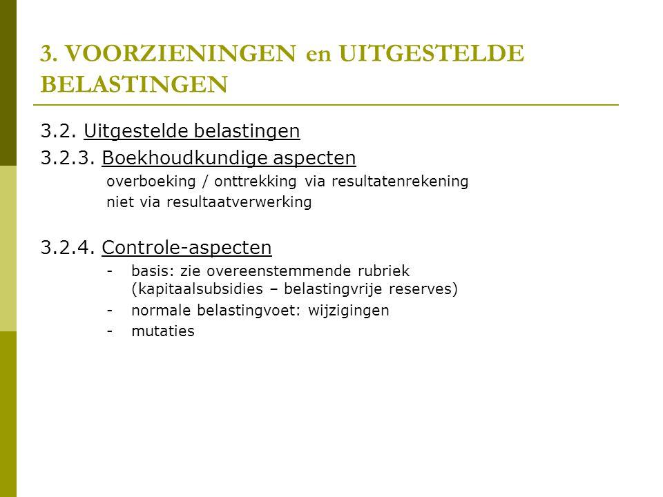 3.VOORZIENINGEN en UITGESTELDE BELASTINGEN 3.2. Uitgestelde belastingen 3.2.3.