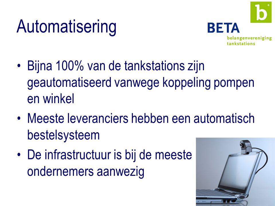 Automatisering Bijna 100% van de tankstations zijn geautomatiseerd vanwege koppeling pompen en winkel Meeste leveranciers hebben een automatisch bestelsysteem De infrastructuur is bij de meeste ondernemers aanwezig