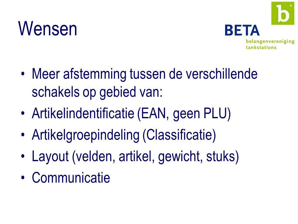 Wensen Meer afstemming tussen de verschillende schakels op gebied van: Artikelindentificatie (EAN, geen PLU) Artikelgroepindeling (Classificatie) Layout (velden, artikel, gewicht, stuks) Communicatie