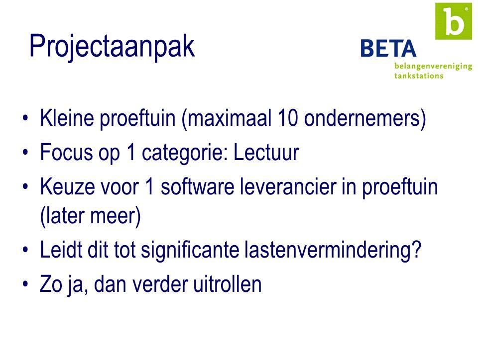 Projectaanpak Kleine proeftuin (maximaal 10 ondernemers) Focus op 1 categorie: Lectuur Keuze voor 1 software leverancier in proeftuin (later meer) Leidt dit tot significante lastenvermindering.