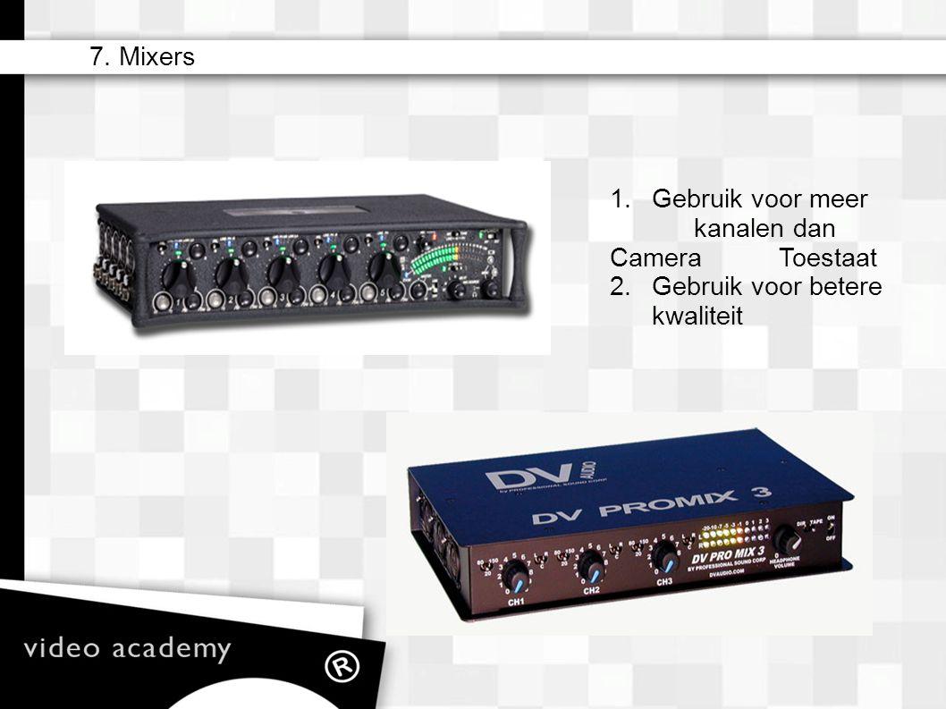 1. Gebruik voor meer kanalen dan Camera Toestaat 2. Gebruik voor betere kwaliteit 7. Mixers