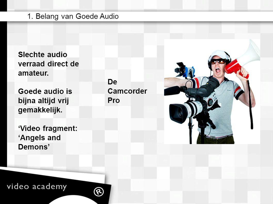 1. Belang van Goede Audio De Camcorder Pro Slechte audio verraad direct de amateur. Goede audio is bijna altijd vrij gemakkelijk. 'Video fragment: 'An