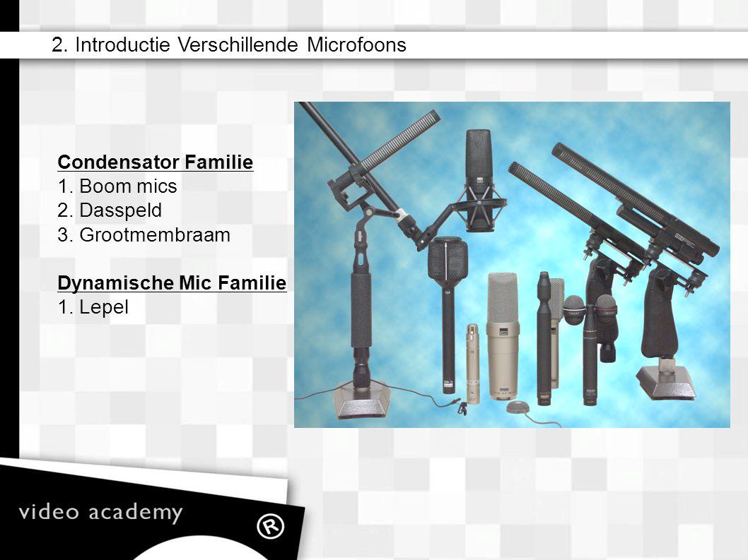 Condensator Familie 1. Boom mics 2. Dasspeld 3. Grootmembraam Dynamische Mic Familie 1. Lepel 2. Introductie Verschillende Microfoons