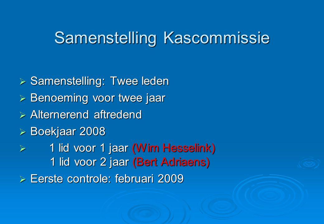 Samenstelling Kascommissie  Samenstelling: Twee leden  Benoeming voor twee jaar  Alternerend aftredend  Boekjaar 2008  1 lid voor 1 jaar (Wim Hesselink) 1 lid voor 2 jaar (Bert Adriaens)  Eerste controle: februari 2009