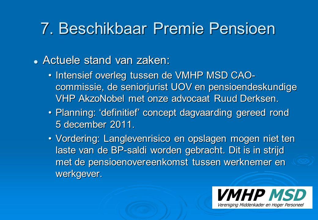 7. Beschikbaar Premie Pensioen Actuele stand van zaken: Actuele stand van zaken: Intensief overleg tussen de VMHP MSD CAO- commissie, de seniorjurist