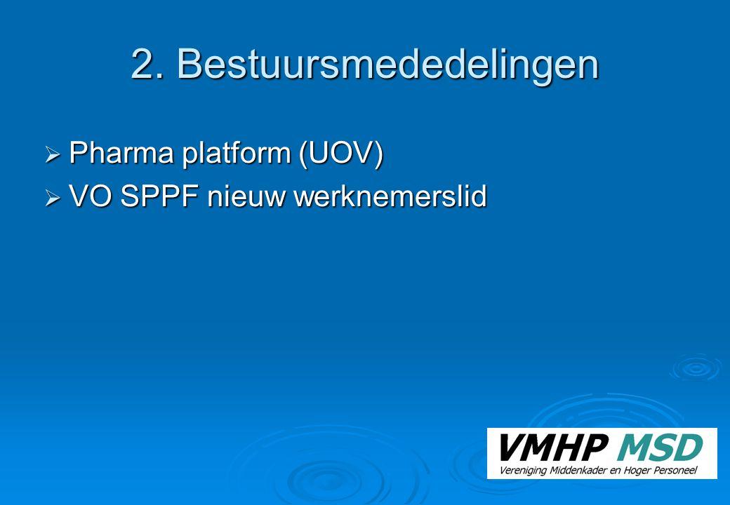2. Bestuursmededelingen  Pharma platform (UOV)  VO SPPF nieuw werknemerslid