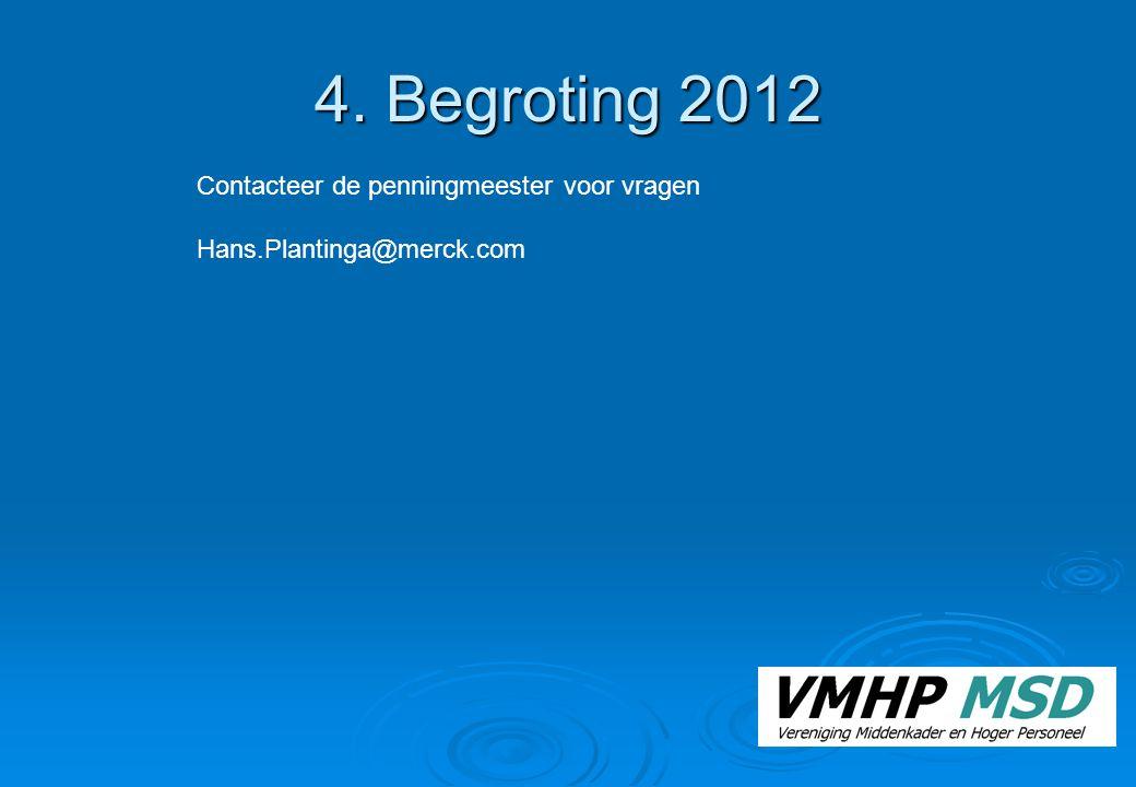 4. Begroting 2012 Contacteer de penningmeester voor vragen Hans.Plantinga@merck.com