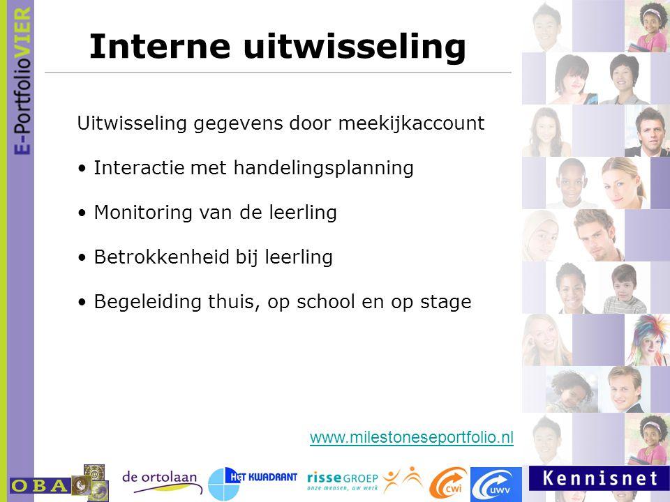 Interne uitwisseling Uitwisseling gegevens door meekijkaccount Interactie met handelingsplanning Monitoring van de leerling Betrokkenheid bij leerling