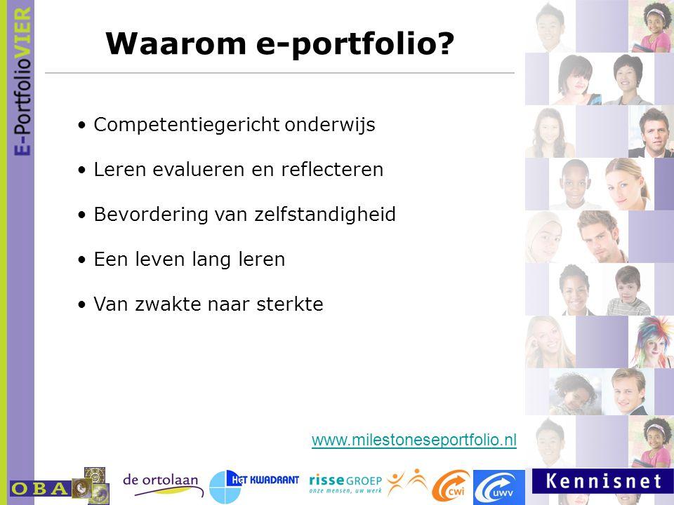 Waarom e-portfolio? Competentiegericht onderwijs Leren evalueren en reflecteren Bevordering van zelfstandigheid Een leven lang leren Van zwakte naar s