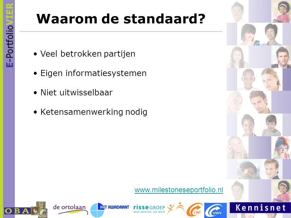 Waarom de standaard? Veel betrokken partijen Eigen informatiesystemen Niet uitwisselbaar Ketensamenwerking nodig www.milestoneseportfolio.nl